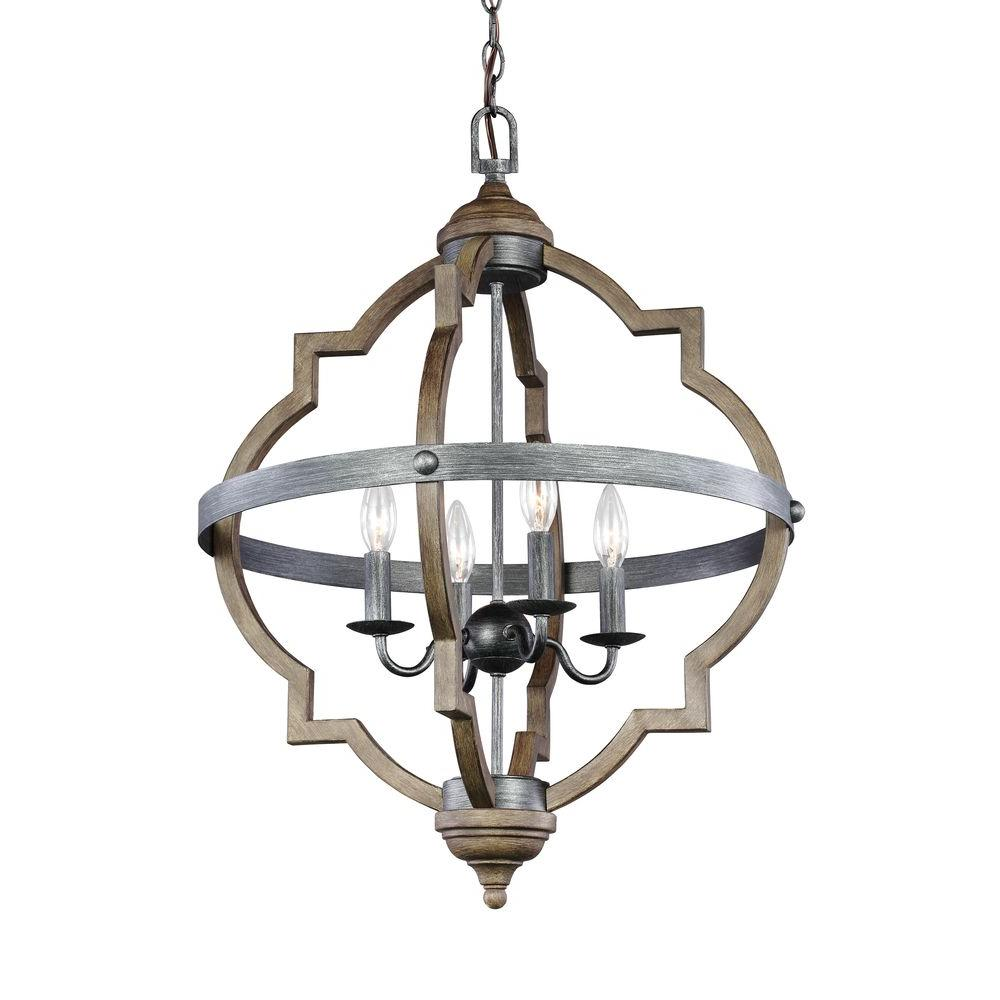 Sea Gull Lighting Socorro 20 875 In W 4 Light Weathered Gray And Distressed Oak Hall Foyer Pendant
