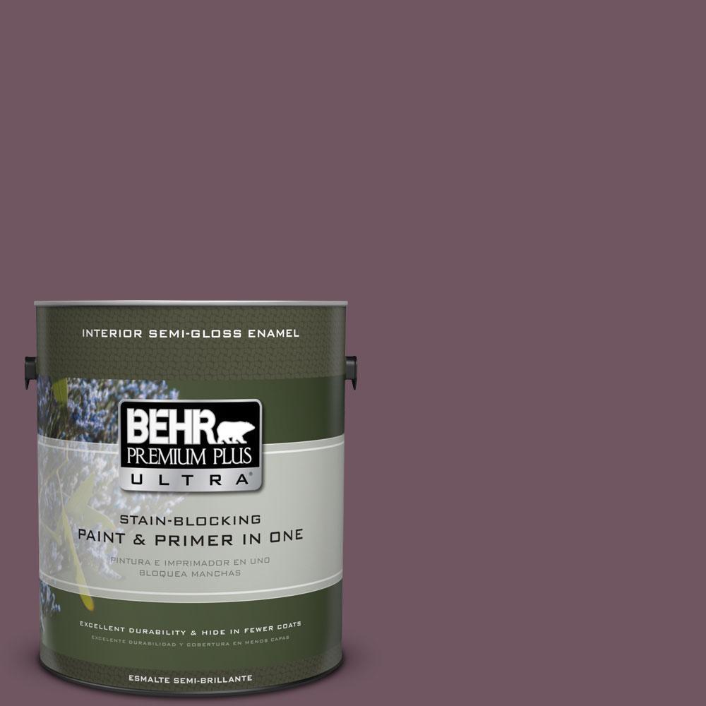 BEHR Premium Plus Ultra 1-gal. #S110-7 Exotic Eggplant Semi-Gloss Enamel Interior Paint
