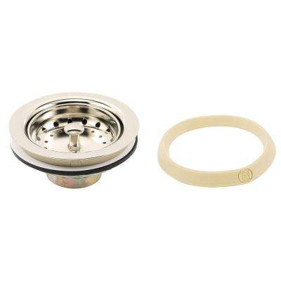 Basket Strainer Stainless Steel Post 3-1/2 in. to 4 in. Polished Nickel with Putty