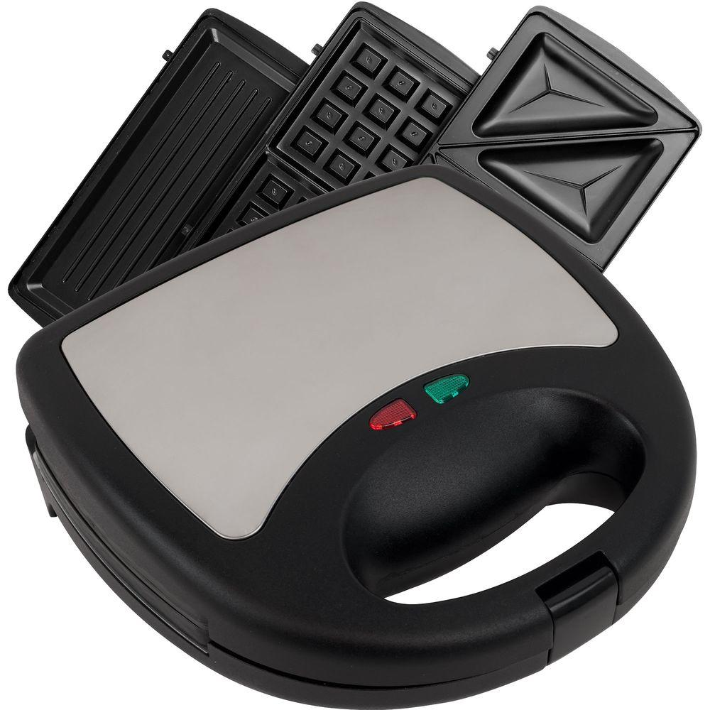 Chef Buddy 3-in-1 Panini Press, Black Great for any meal this 3-in-1 Sandwich Panini and Waffle Press is perfect for someone that wants quick hot meals fast. Breakfast, lunch or dinner, this press has you covered. Waffles in the morning, Panini sandwich for lunch and pizza pockets for dinner. Color: Black.