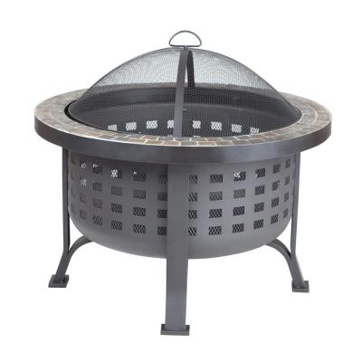 Alpina 30 in. Round Steel Fire Pit with Slate Top