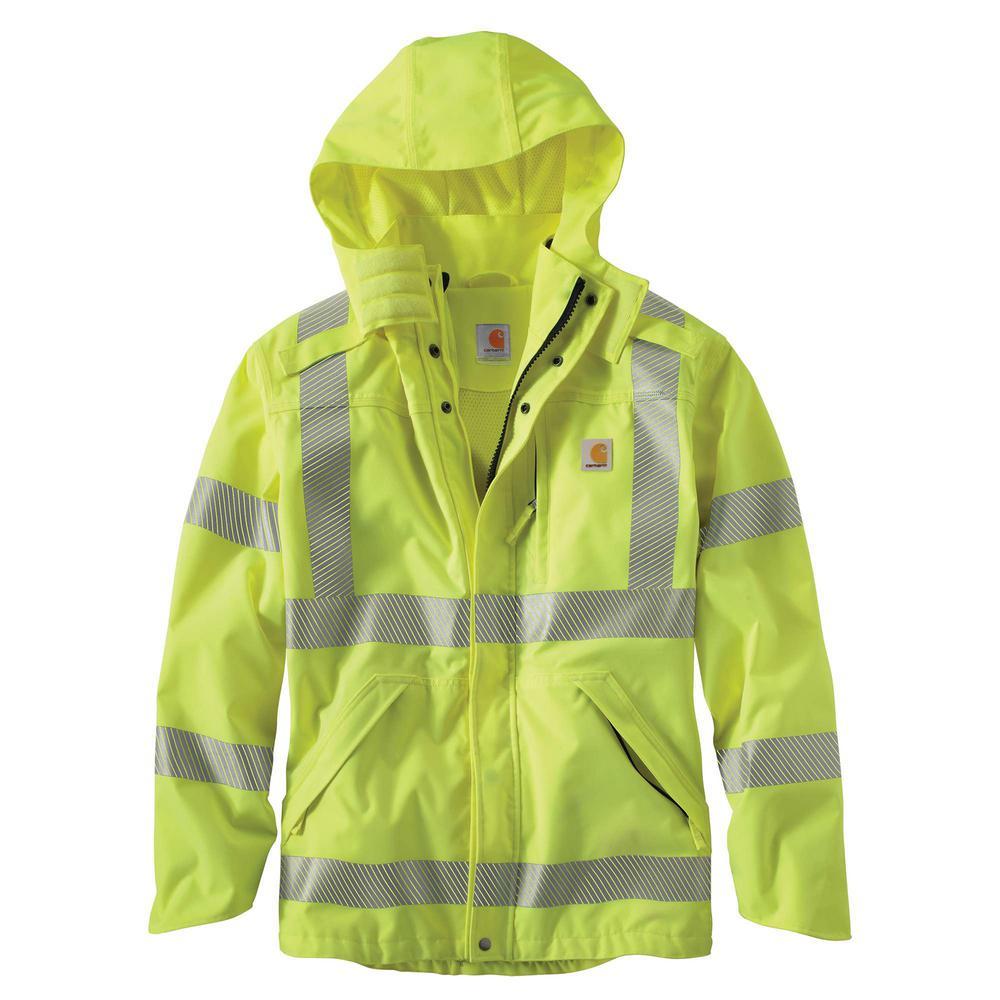 f2b3a3e9 Men's 2X-Large Brite Lime Polyester HV Class 3 Wp Rain Jacket