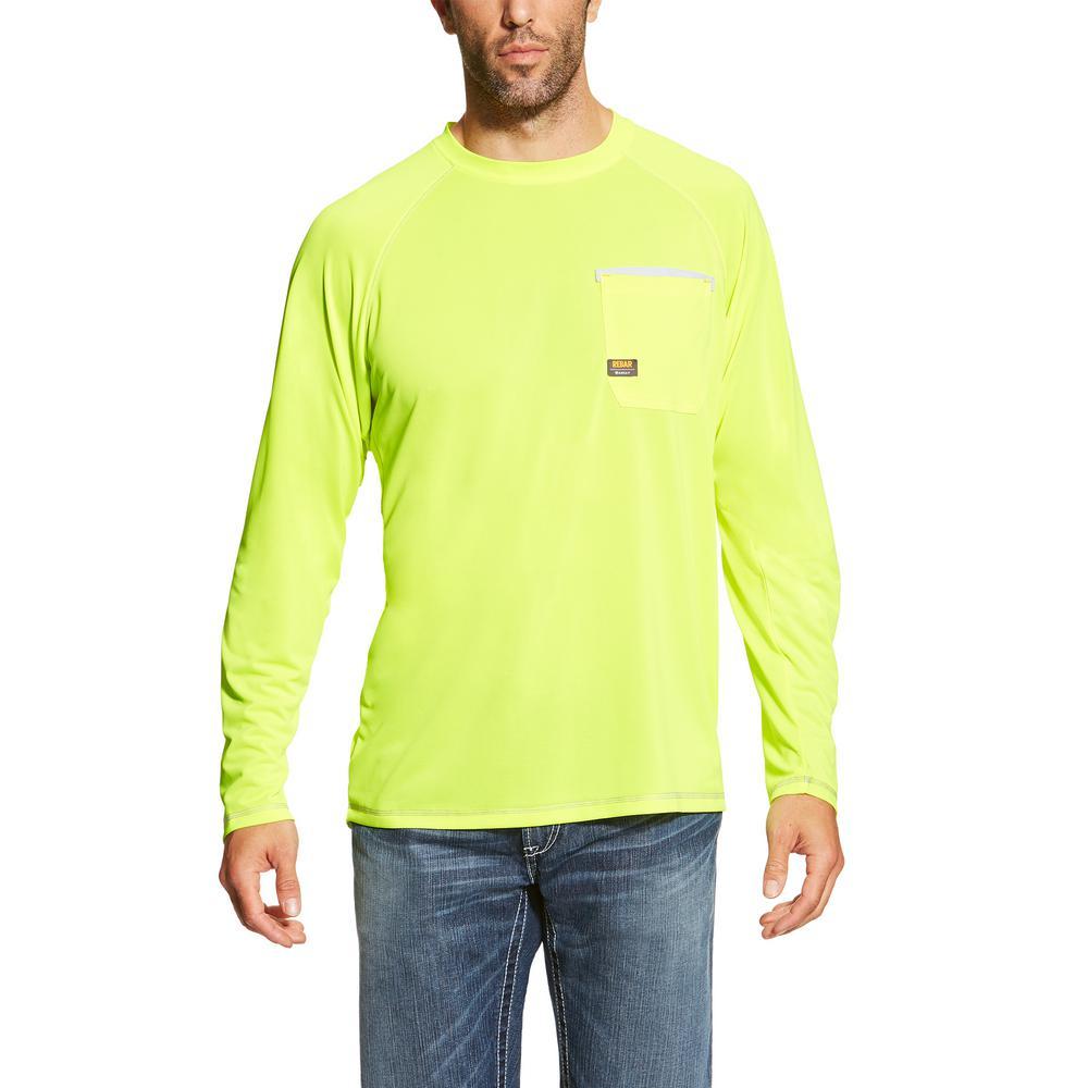c8428d491de Ariat Men's Size Large Lime Rebar Sunstopper Long Sleeve Work Shirt ...