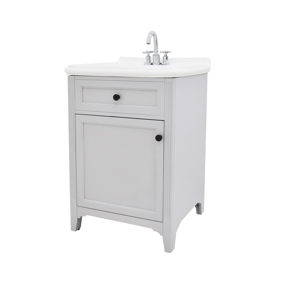 222 Fifth Hamilton 24.5 in. W Bathroom Vanity in Grey with Ceramic Vanity Top in White with White Basin