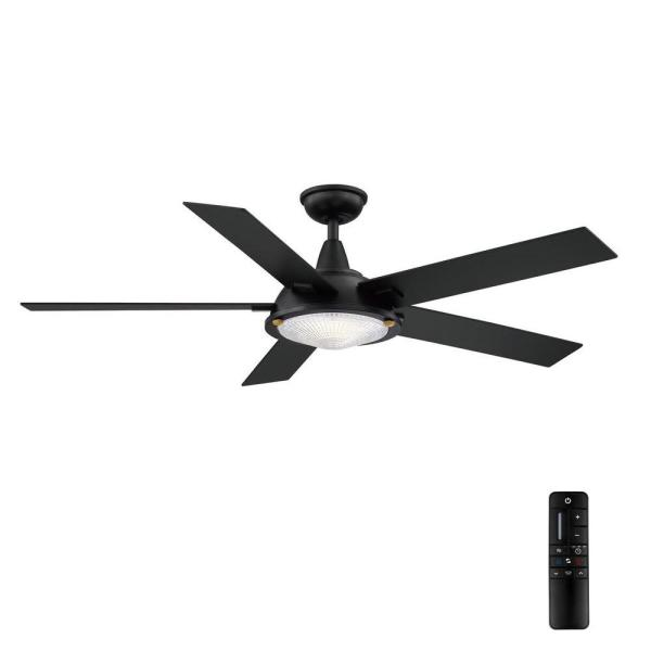 Merienda 56 in. LED Matte Black Ceiling Fan with Light