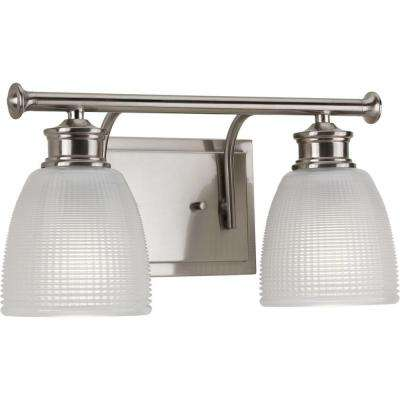 Lucky Collection 2-Light Brushed Nickel Vanity Light with Double Prismatic Frosted Glass Shades