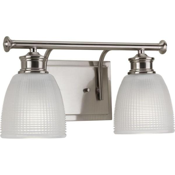 Lucky Collection 2-Light Brushed Nickel Bathroom Vanity Light with Glass Shades