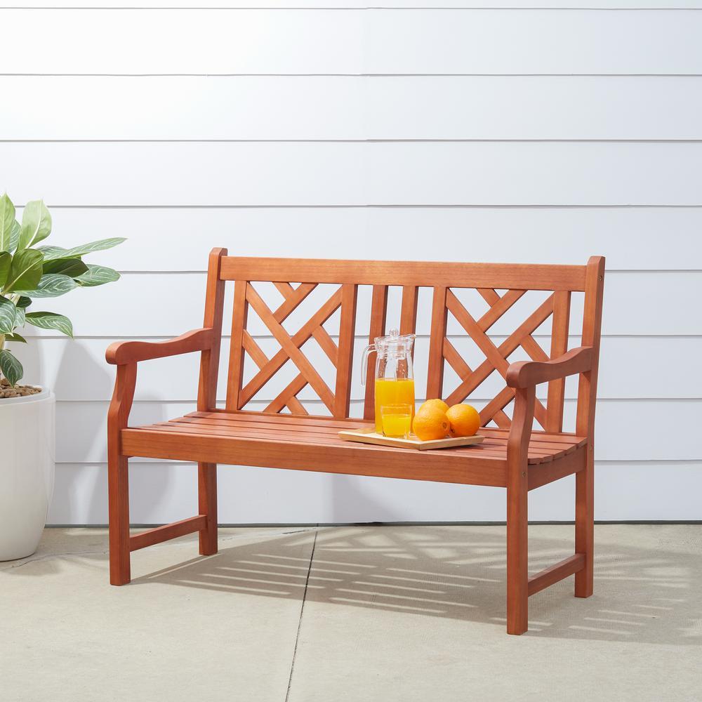 Vifah Atlantic Eucalyptus Herringbone-Back Patio Bench