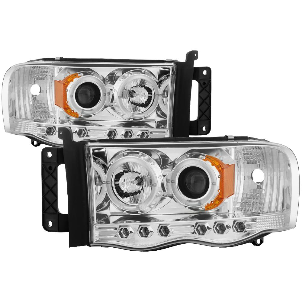 Dodge Ram 1500 02 05 2500 3500 03 Projector Headlights Led Halo Replaceable Leds Chrome