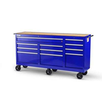 Workshop Series 73 in. 11-Drawer Cabinet with Wood Top, Blue