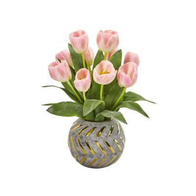 Nearly Natural 1854-PK Tulips and Calla Lily Artificial Floral Vase Silk Arrangements Pink