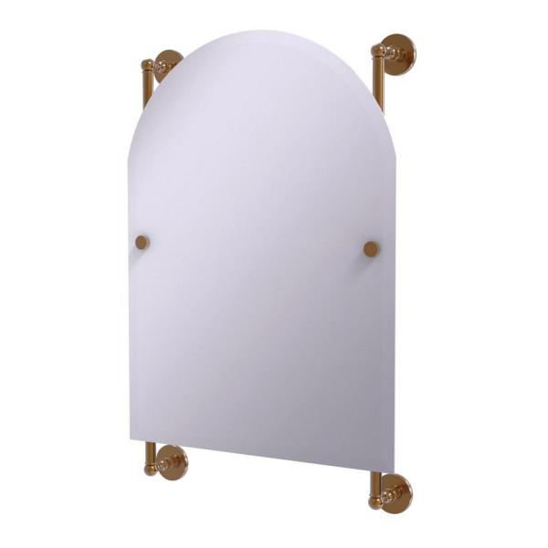 Prestige Skyline Collection Arched Top Frameless Rail Mounted Mirror in Brushed Bronze