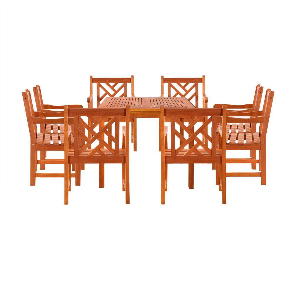 Malibu 9-Piece Wood Square Outdoor Dining Set