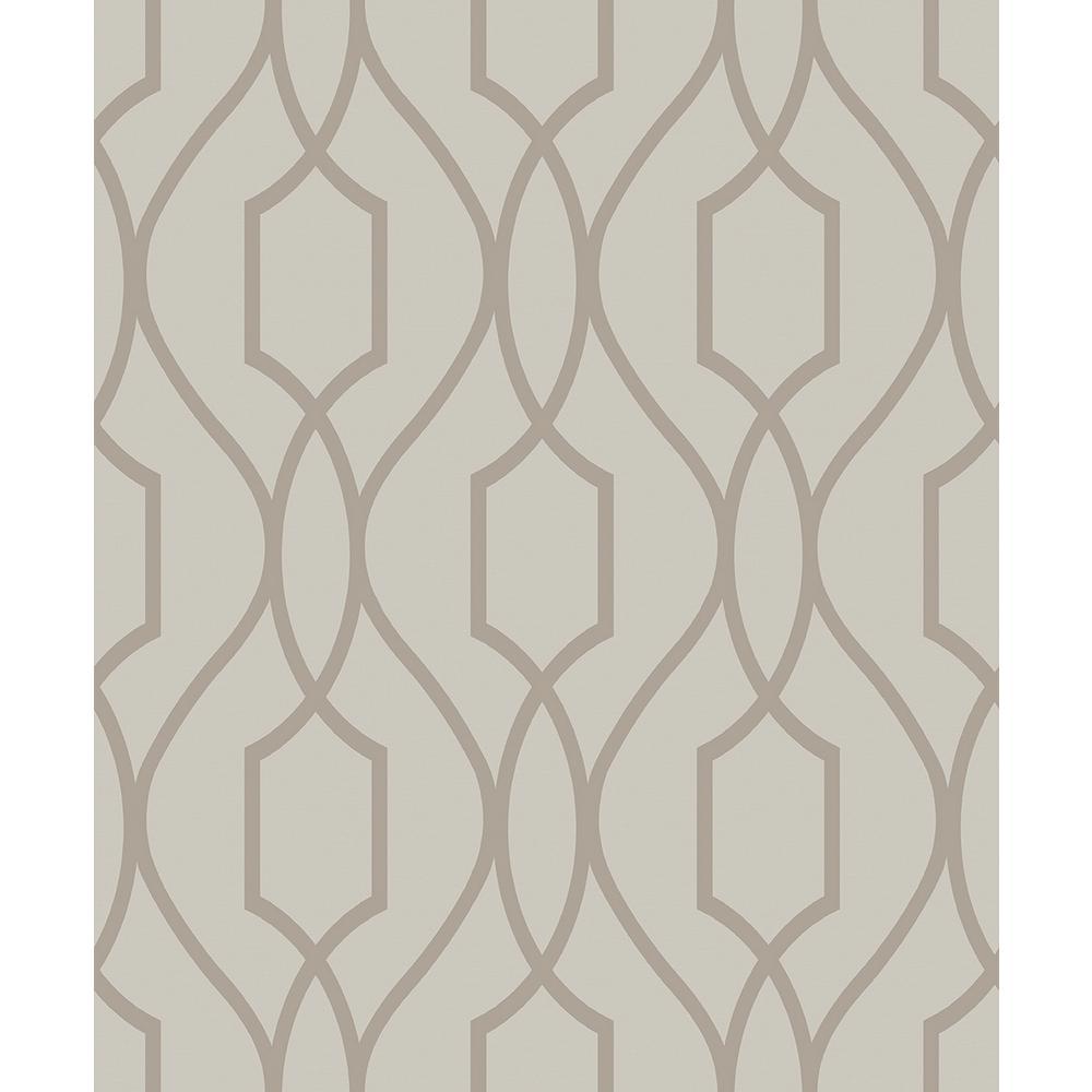 Advantage 56.4 sq. ft. Evelyn Bronze Trellis Wallpaper