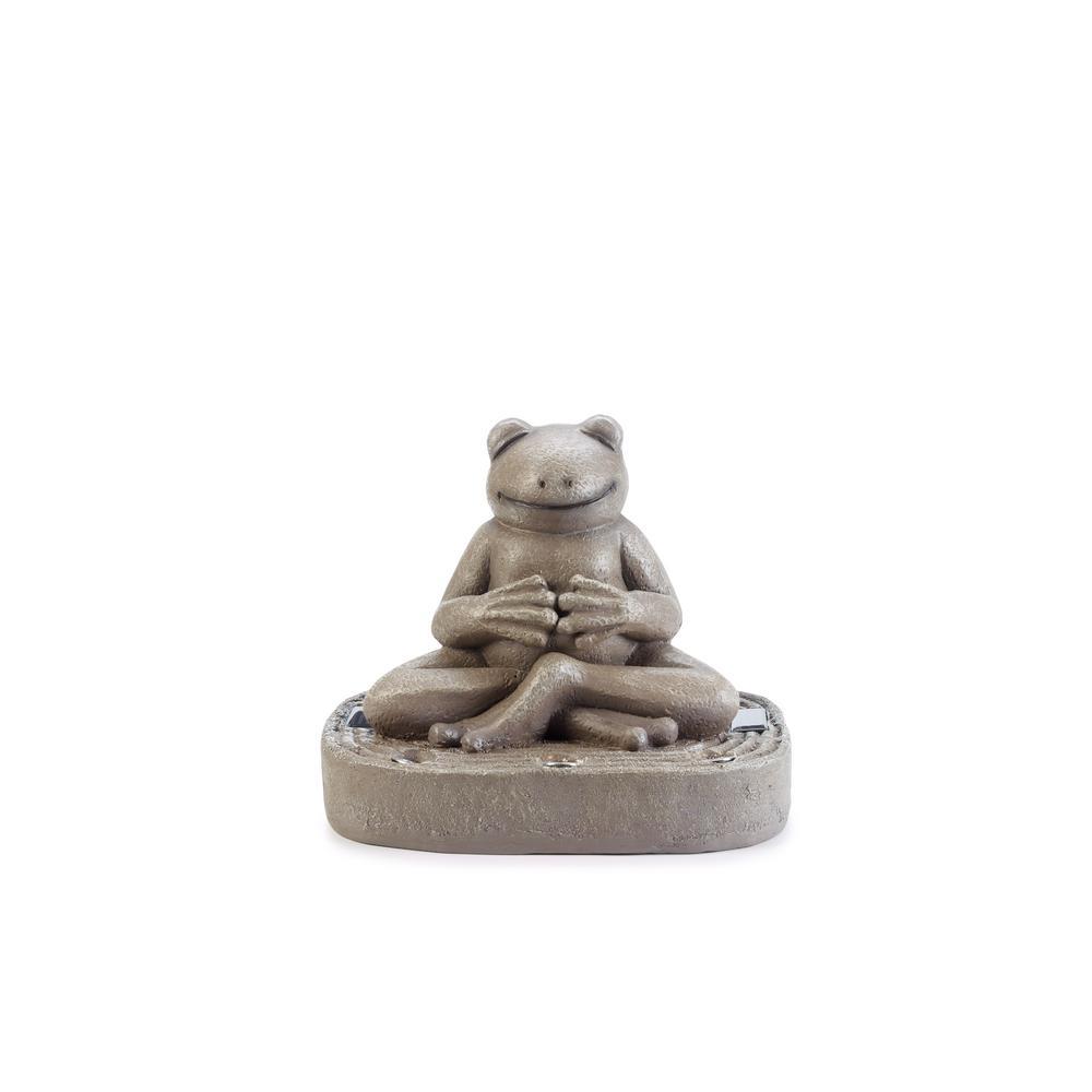 12.4 in. H Reading Tea Frog Solar Statue