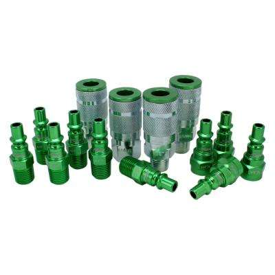 ColorFit by Milton Coupler & Plug Kit - (A-Style, Green) - 1/4 in. NPT, (14-Piece)