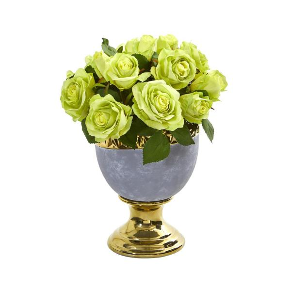 Nearly Natural 14 In Rose Artificial Arrangement In Urn With Gold