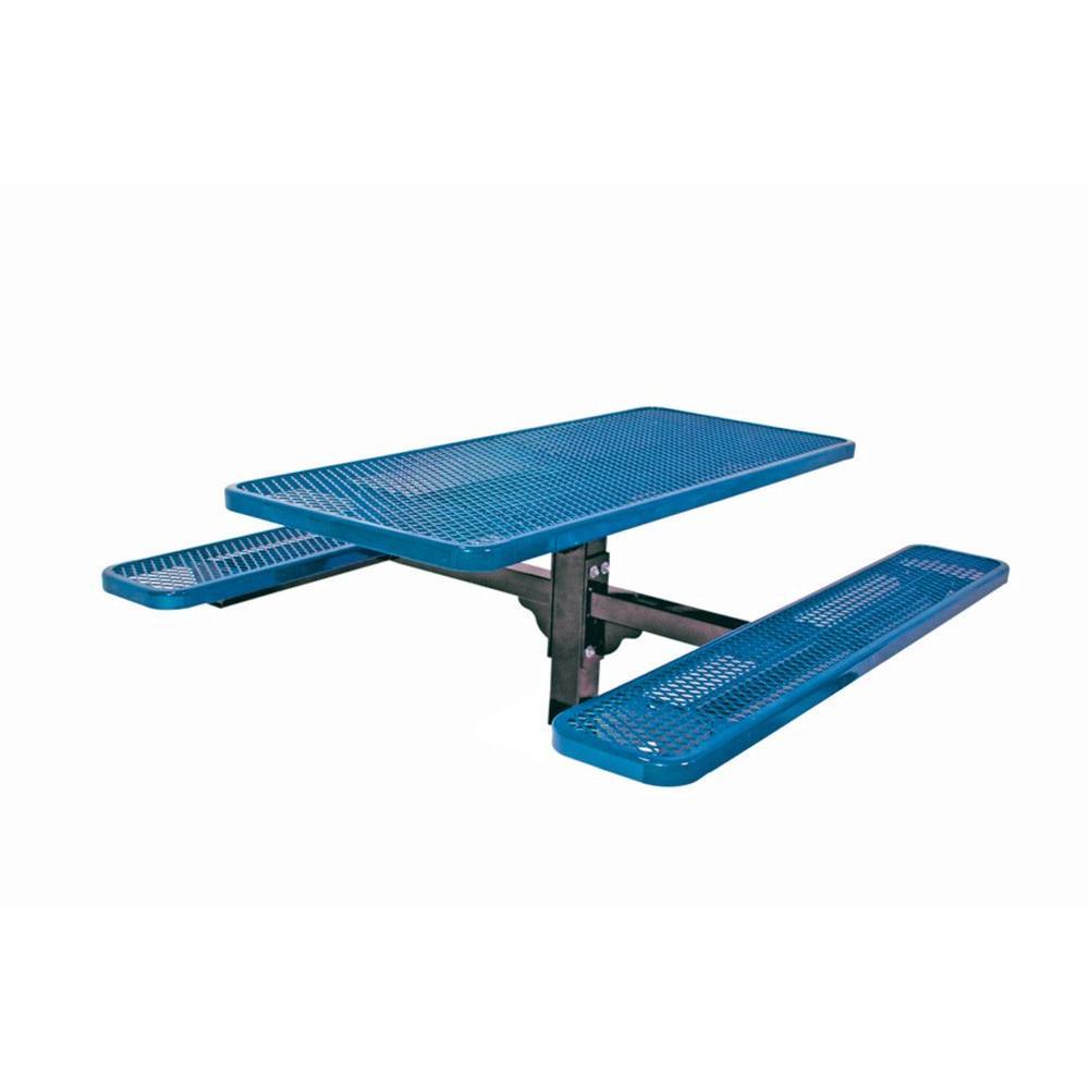 6 ft. Diamond Blue Commercial Park Rectangular Table Inground Mount