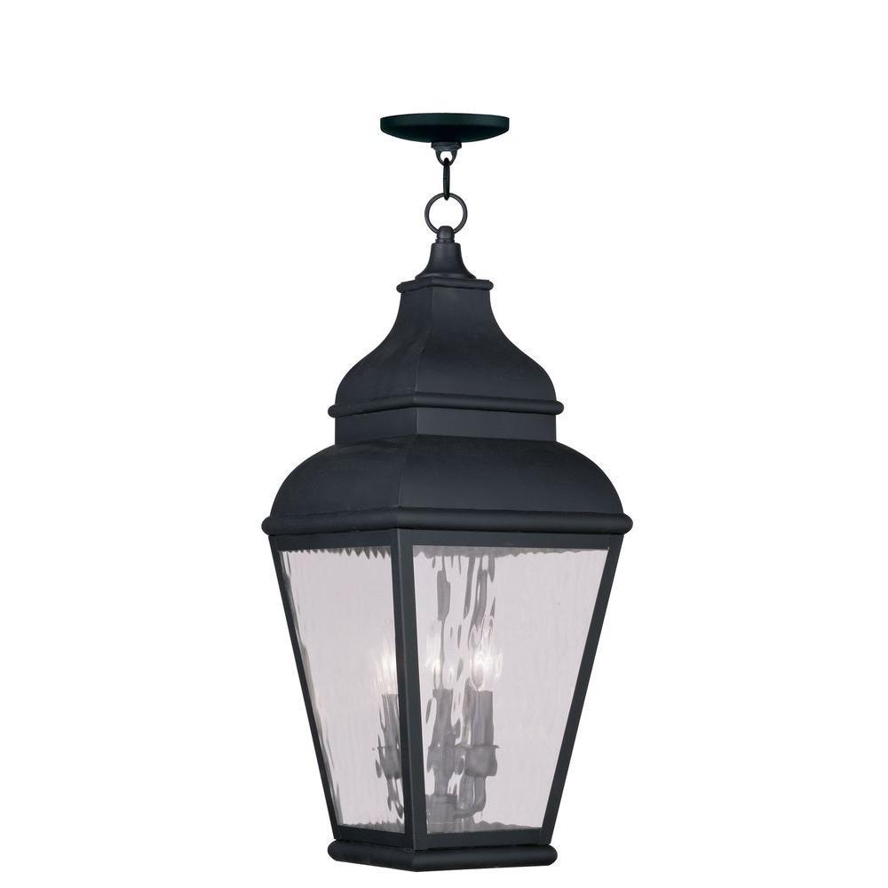 Exeter Black 3-Light Outdoor Incandescent Hanging Lantern