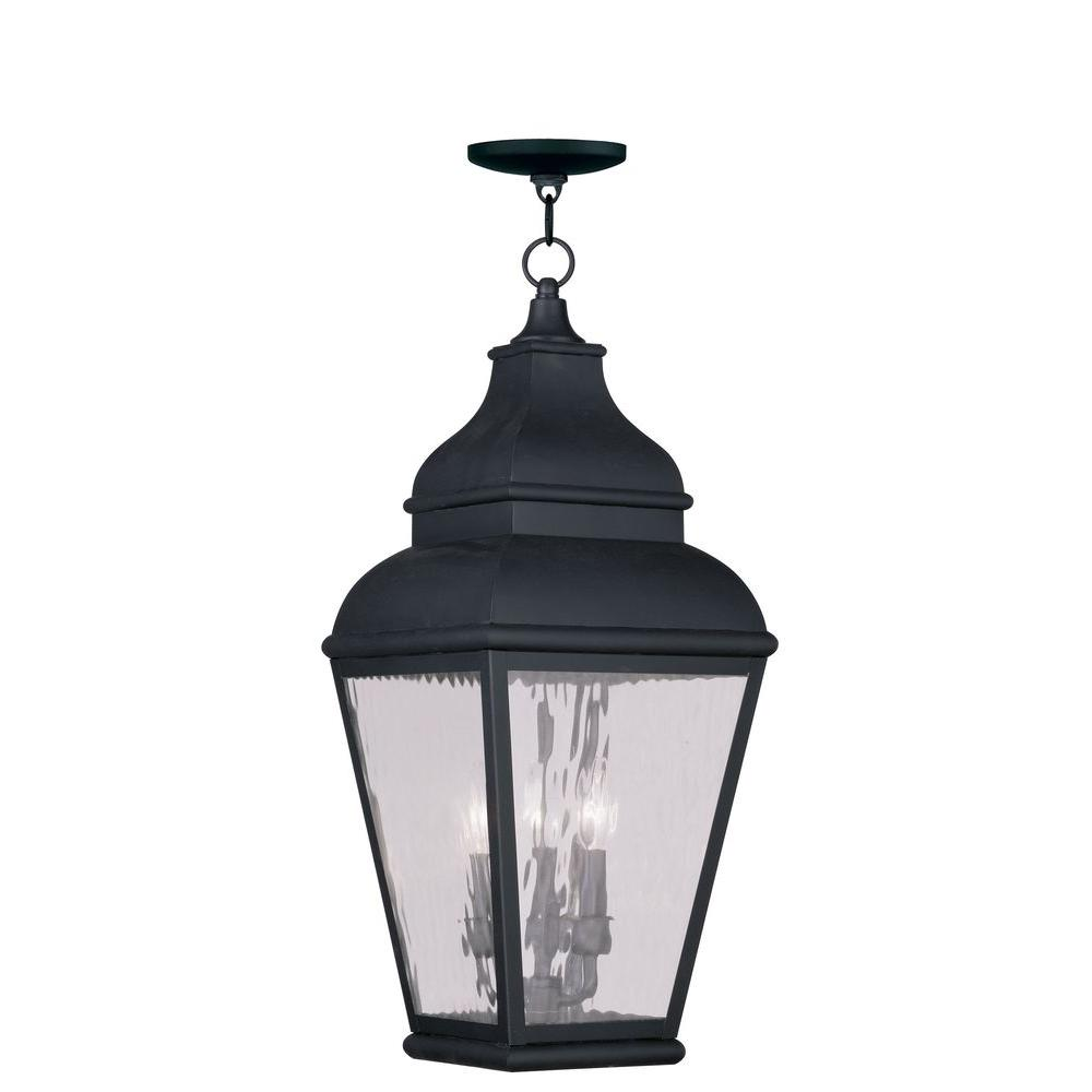 Providence 3-Light Vintage Pewter Outdoor Incandescent Hanging Lantern