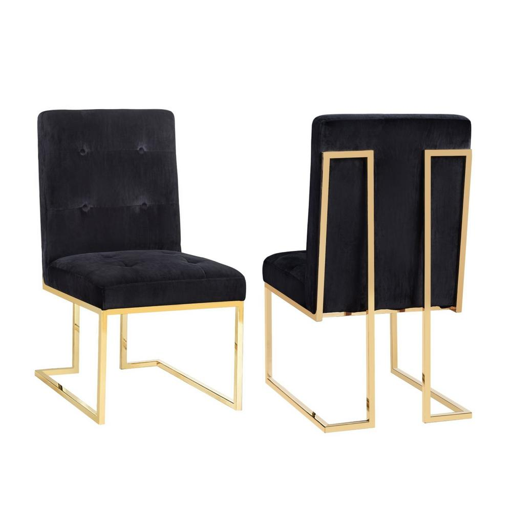 Charmant TOV Furniture Akiko Black Velvet Chair