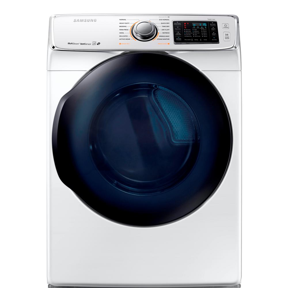 Samsung 7.5 cu. ft. Electric Dryer with Steam in White, E...