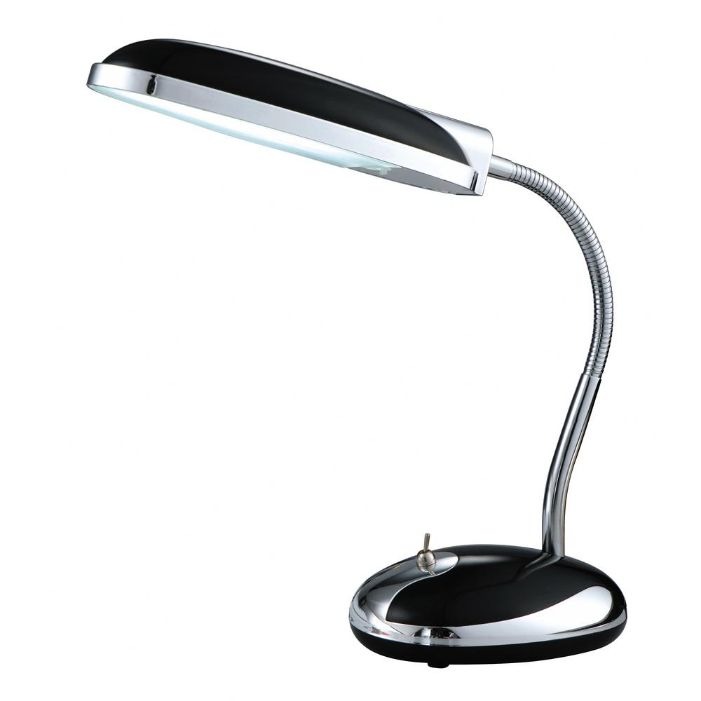 Superbe Black Fluorescent Desk Lamp With Chrome Accent