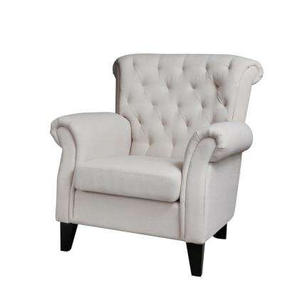 Beige Polyester Accent Chair
