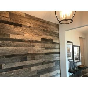 3/8 in. x 4 ft. Random Width 3 in. - 5 in. Grey Reclaimed Planks Decorative Wall Panel (10.59 sq. ft./Pack)