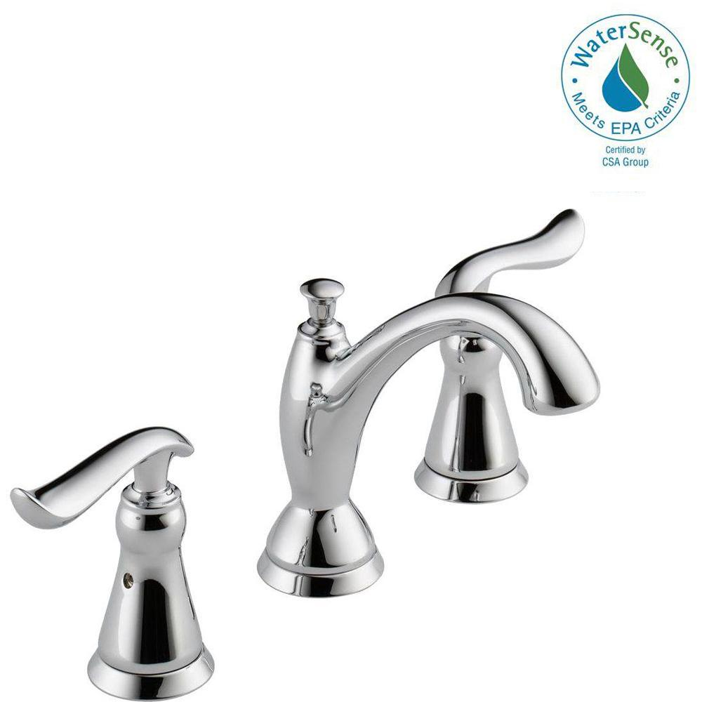 Delta Linden 8 in. Widespread 2-Handle Bathroom Faucet with Metal ...