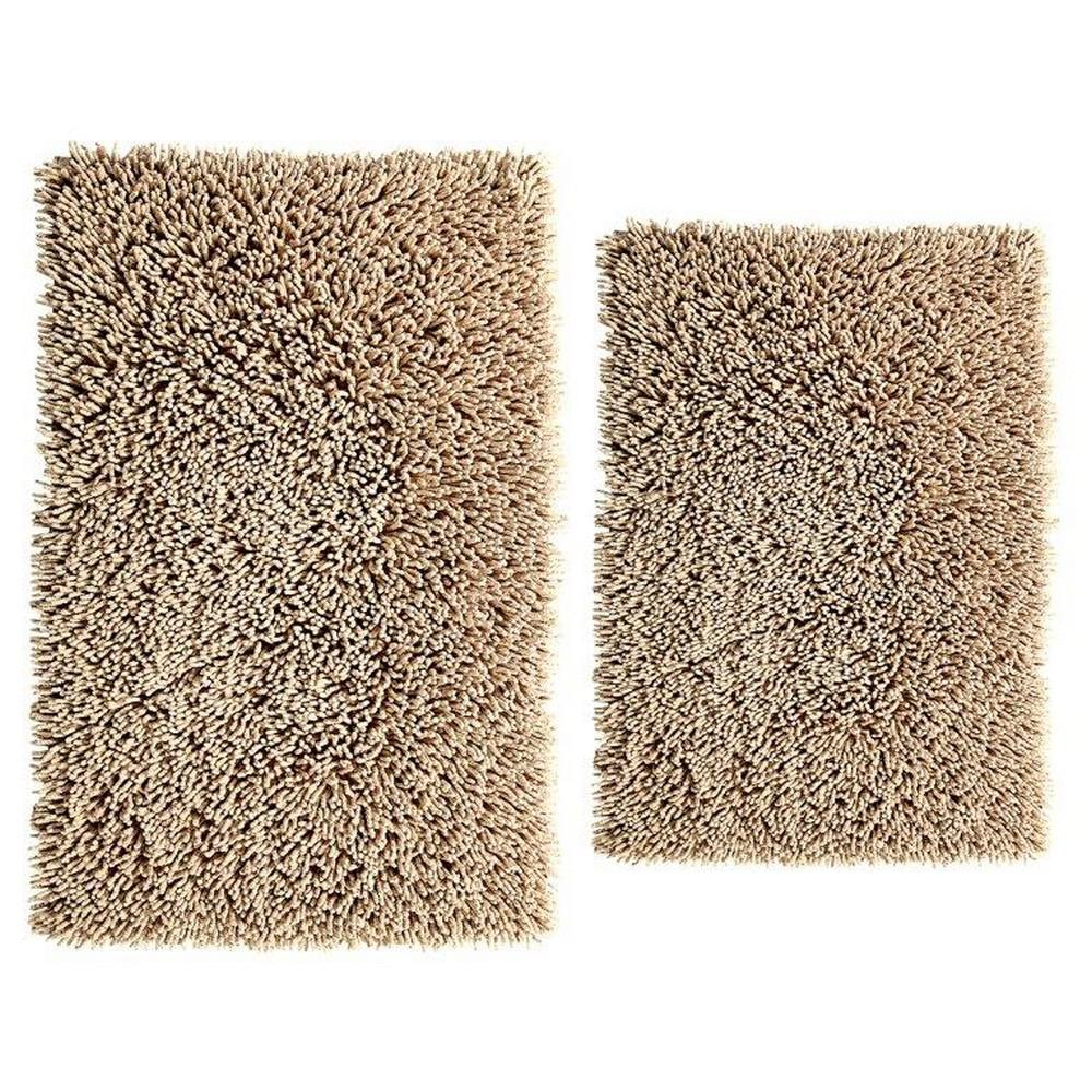 Natural 17 In. X 24 In. And 24 In. X 40 In. Chenille Shaggy Bath Rug Set (2 Piece)