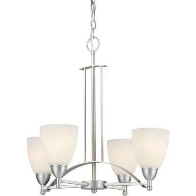 4-Light Brushed Nickel Chandelier with Satin Opal Glass Shade