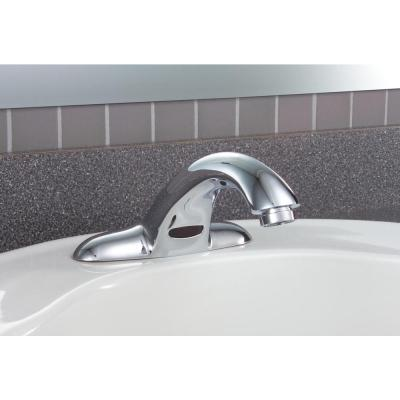 Commercial Touchless 4 in. Centerset Single-Handle Bathroom Faucet with Battery Power in Chrome (Valve Not Included)