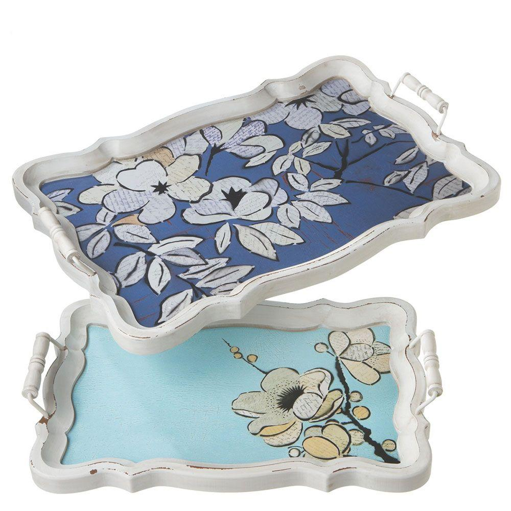 Filament Design Sundry Wood Cherry Blossoms Decorative Tray (Set of 2)-DISCONTINUED