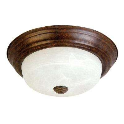 Belen 2-Light Dark Brown Flush Mount with White Marble Glass Shade