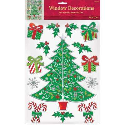 5.5 in. Traditional Christmas Embossed Foil Window Decoration (3-Pack)