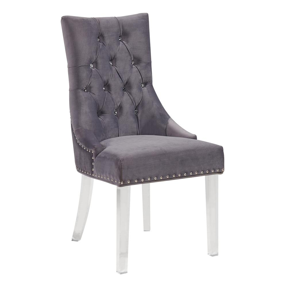 f12cbcd6038 Armen Living Gobi 39 in. Gray Velvet and Acrylic Finish Modern Tufted  Dining Chair-LCGOCHGRAY - The Home Depot