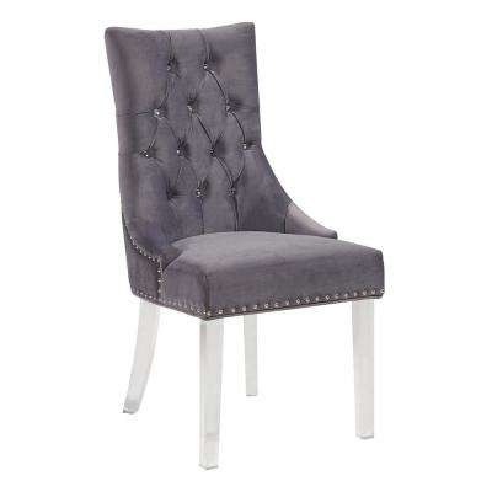 Gobi 39 in. Gray Velvet and Acrylic Finish Modern Tufted Dining Chair