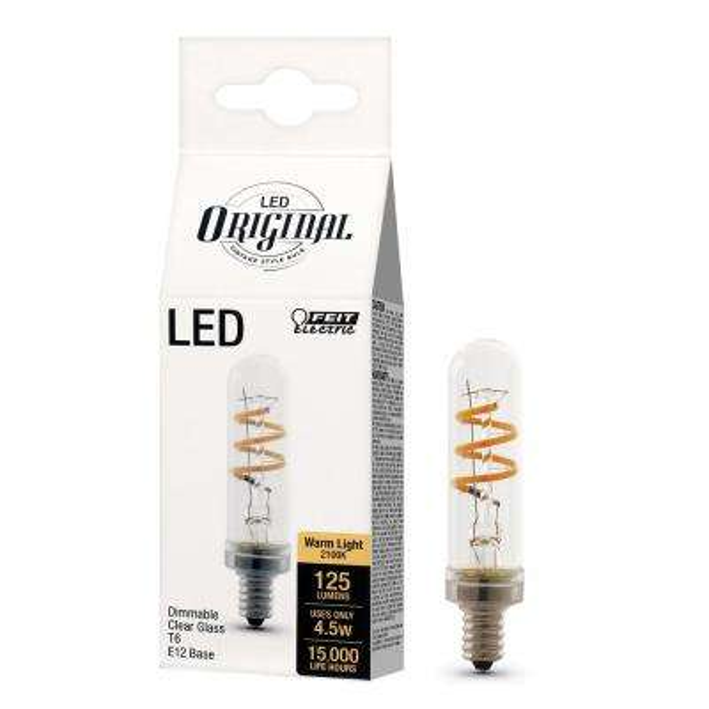 25-Watt Equivalent (2100K) T6 Candelabra Dimmable LED Vintage Style Clear Glass Light Bulb, Soft White