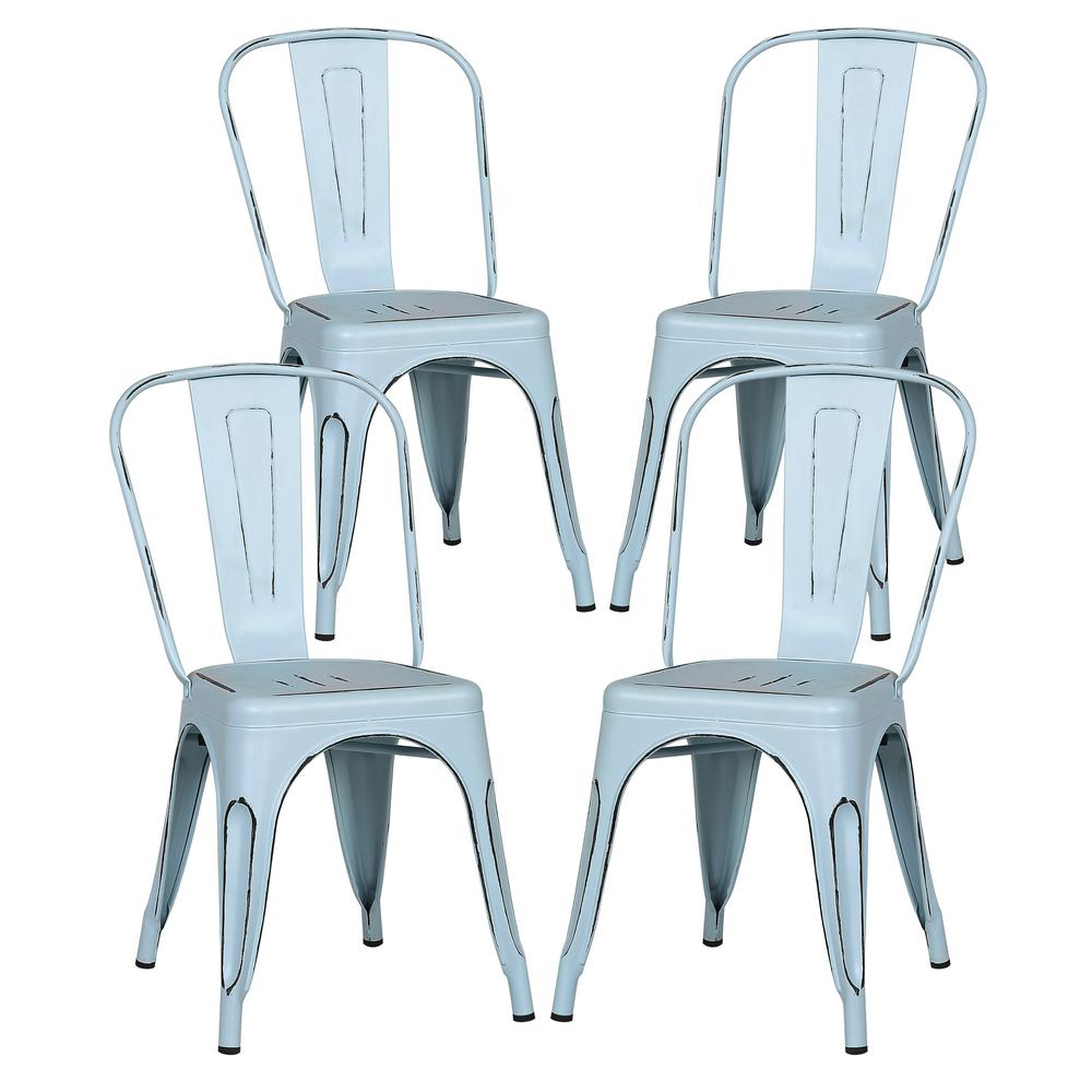Poly And Bark Trattoria Distressed Blue Side Chair Set Of