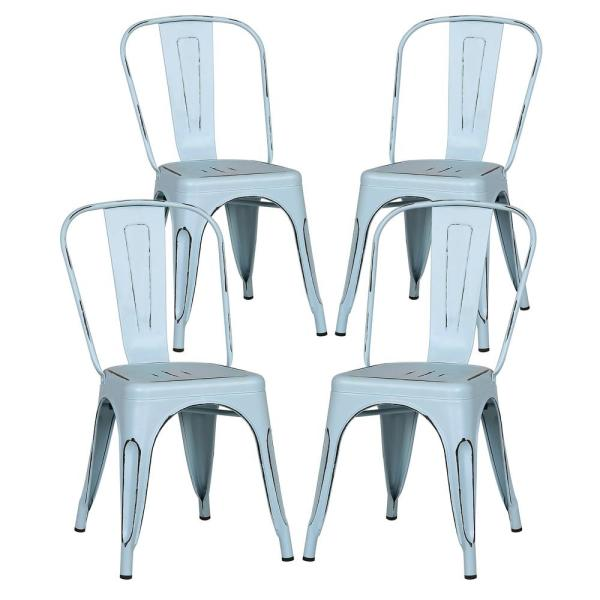 Poly and Bark Trattoria Distressed Blue Side Chair (Set of 4)