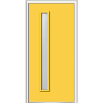 36 in. x 80 in. Viola Left-Hand Inswing 1-Lite Frosted Midcentury Painted Fiberglass Smooth Prehung Front Door