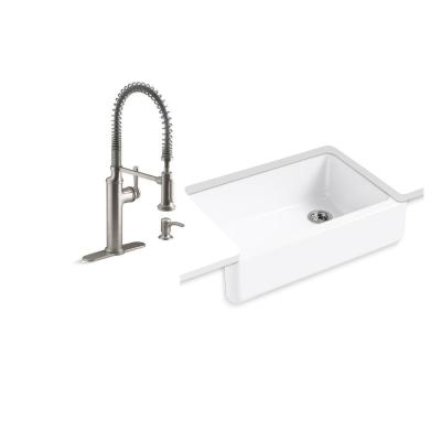 Whitehaven All-in-One Undermount Cast Iron 33 in. Single Bowl Kitchen Sink in White with Sous Faucet in Stainless Steel