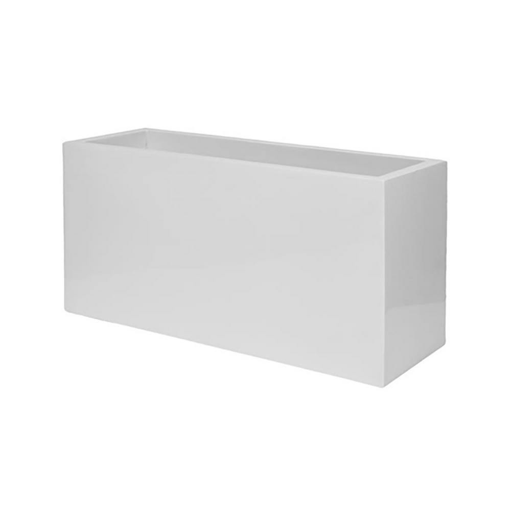 High Stone Wall Garden With Rectangular French Marble: Vasesource 16 In. X 20 In. Shiny White Fiberstone