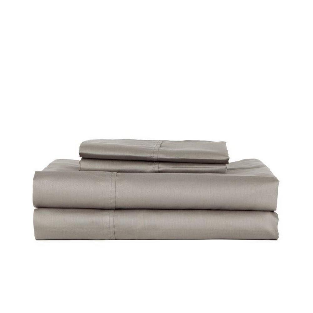 DEVONSHIRE COLLECTION OF NOTTINGHAM 3-Piece Grey Solid 280 Thread Count Cotton Twin Sheet Set was $59.99 now $35.99 (40.0% off)