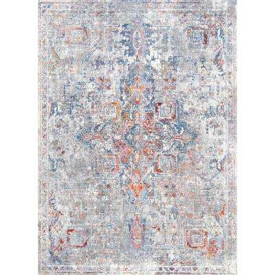 Cordelia Persian Distressed Blue 5 ft. 3 in. x 7 ft. 7 in. Area Rug