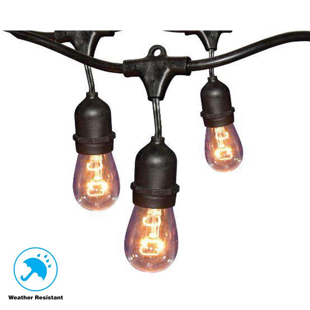 Hampton Bay 12-Light 24 ft. Black Commercial String Light