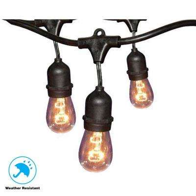 12-Light 24 ft. Black Commercial String Light