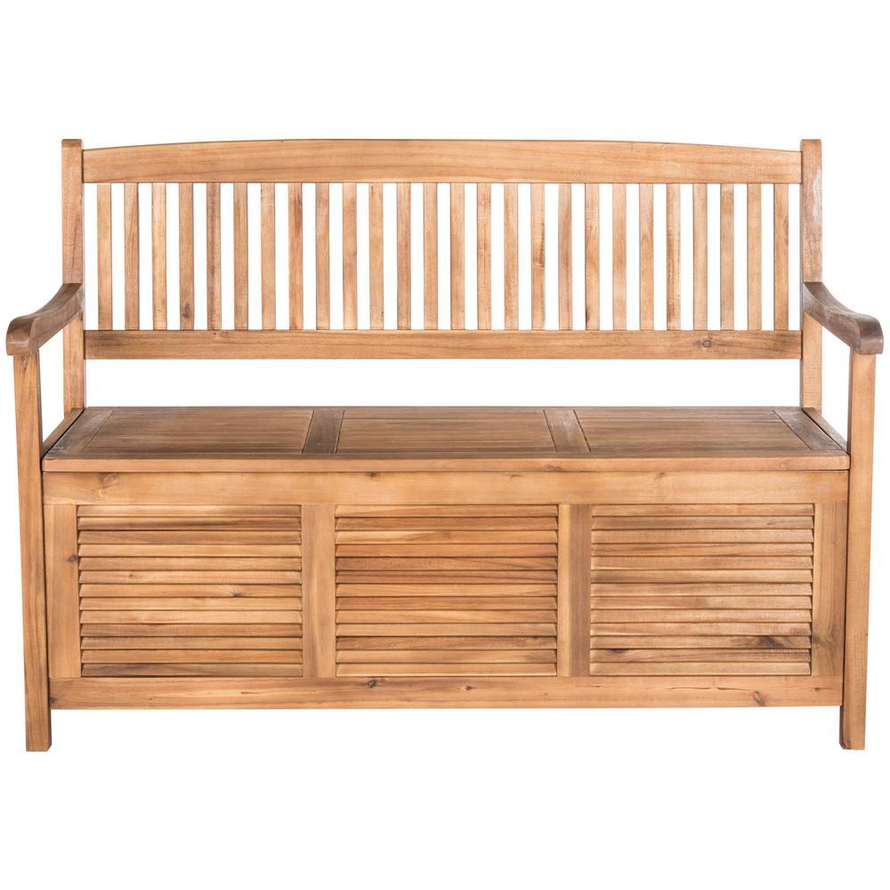 Safavieh Brisbane 2-Person Natural Wood Outdoor Bench