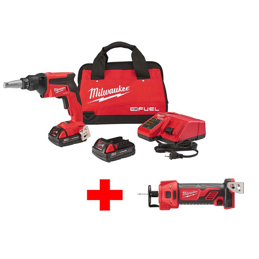 Milwaukee M18 FUEL 18-Volt Lithium-Ion Brushless Cordless Drywall Screw Gun Compact Kit with M18 Cutout Tool